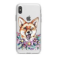 Чехол силиконовый для Apple iPhone (Забавная лиса) 5/5s/SE 6/6s 6+/6s+ 7/7 plus 8/8+ 11 Pro про эпл айфон плюс X XS XsMax XR silicone case