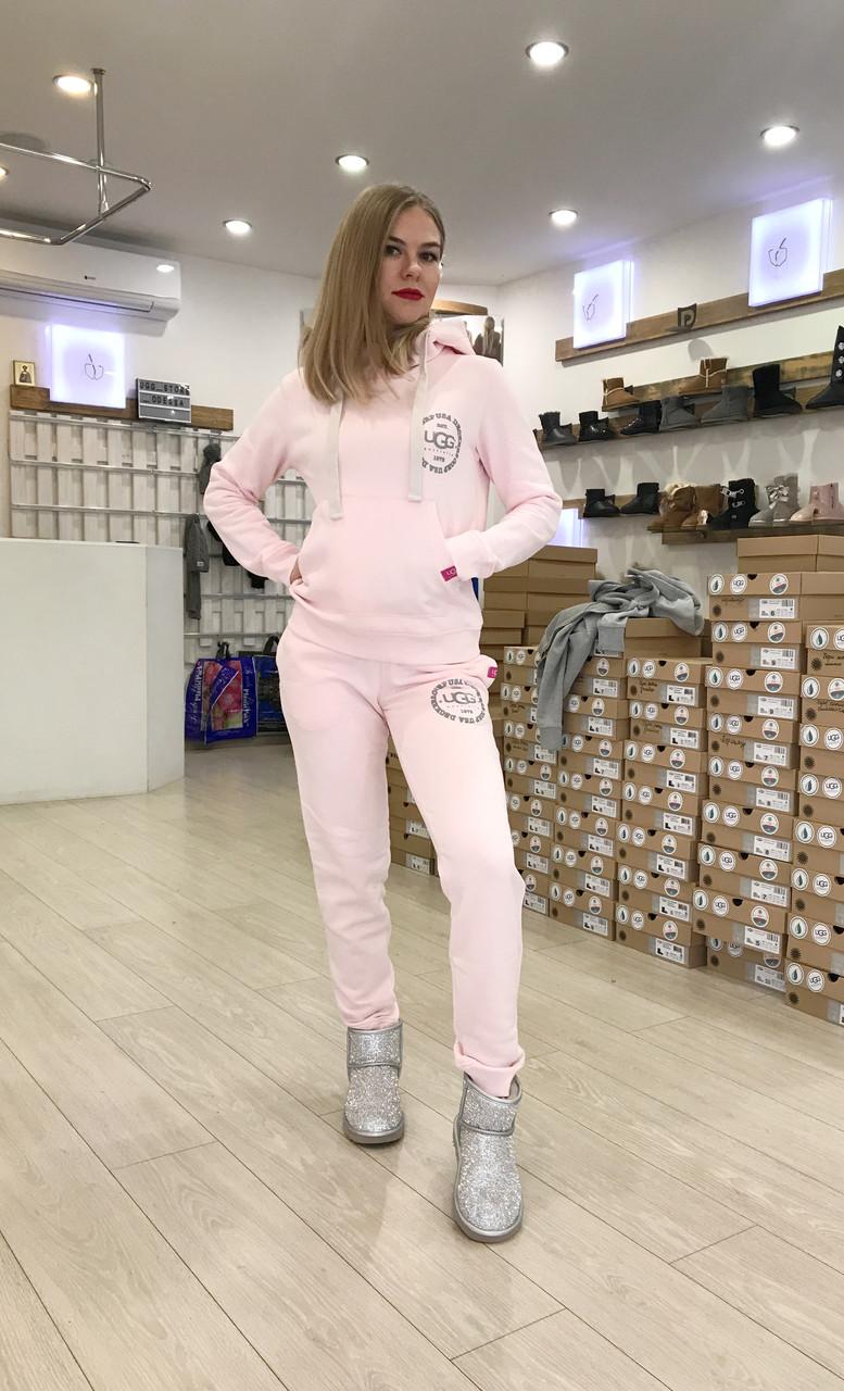 Теплый женский костюм от UGG Australia Print Tall Neck Hoodie Pink, бледно-розовый, высокая горловина