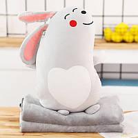 Мягкая игрушка - подушка с пледом Плюшевый кролик, 50см Berni