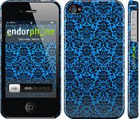 """Чехол на iPhone 4 Синий узор барокко """"2117c-15"""""""