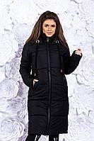 Женская длинная куртка-пальто на меху с капюшоном зимняя
