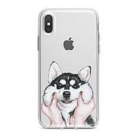 Чехол силиконовый для Apple iPhone (Обаятельный хаски) 5/5s/SE 6/6s 6+/6s+ 7/7 plus 8/8+ 11 Pro про эпл айфон плюс X XS XsMax XR silicone case