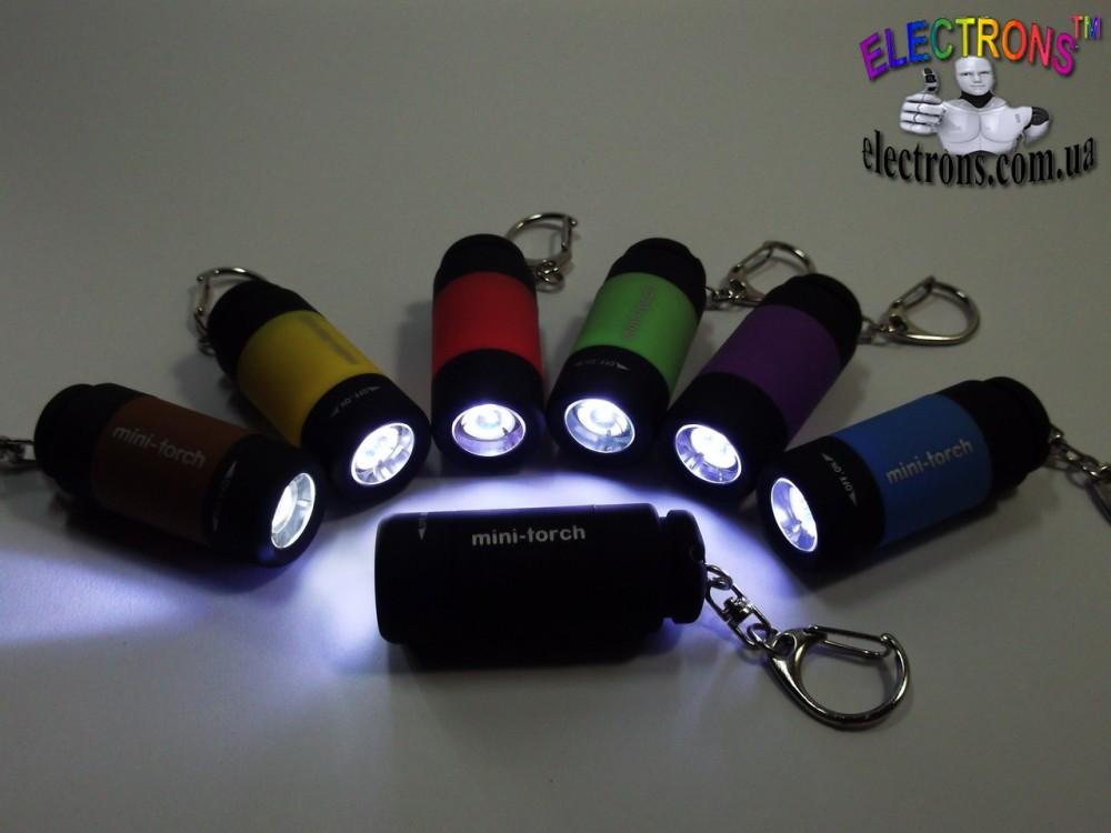 Миниатюрный USB аккумуляторный фонарик mini-torch с карабином