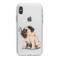 Чехол силиконовый для Apple iPhone (Симпатичный щенок мопса) 5/5s/SE 6/6s 6+/6s+ 7/7 plus 8/8+ 11 Pro про эпл айфон плюс X XS XsMax XR silicone case