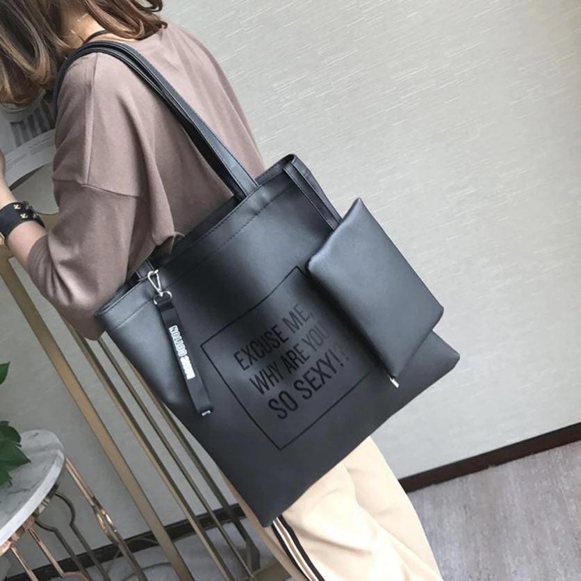 Черный шоппер с надписью из экокожи + косметичка, фото 2