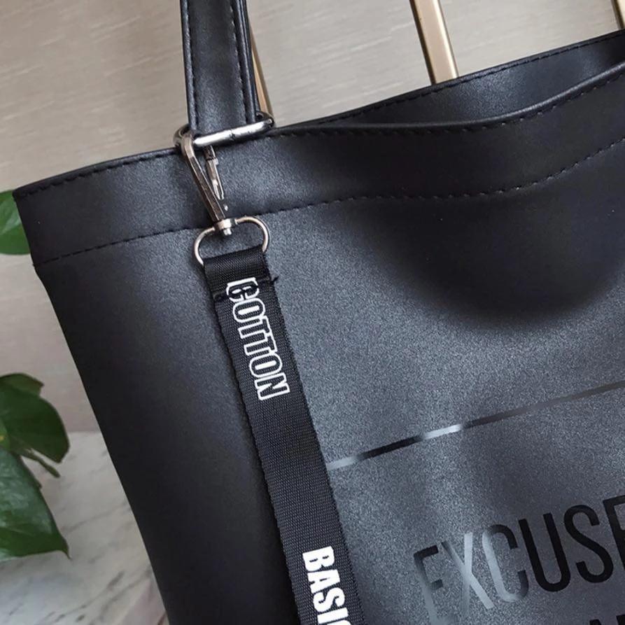 Черный шоппер с надписью из экокожи + косметичка, фото 5