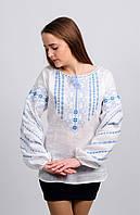 Женская вышиванка Геометрия (серо - голубая вышивка)