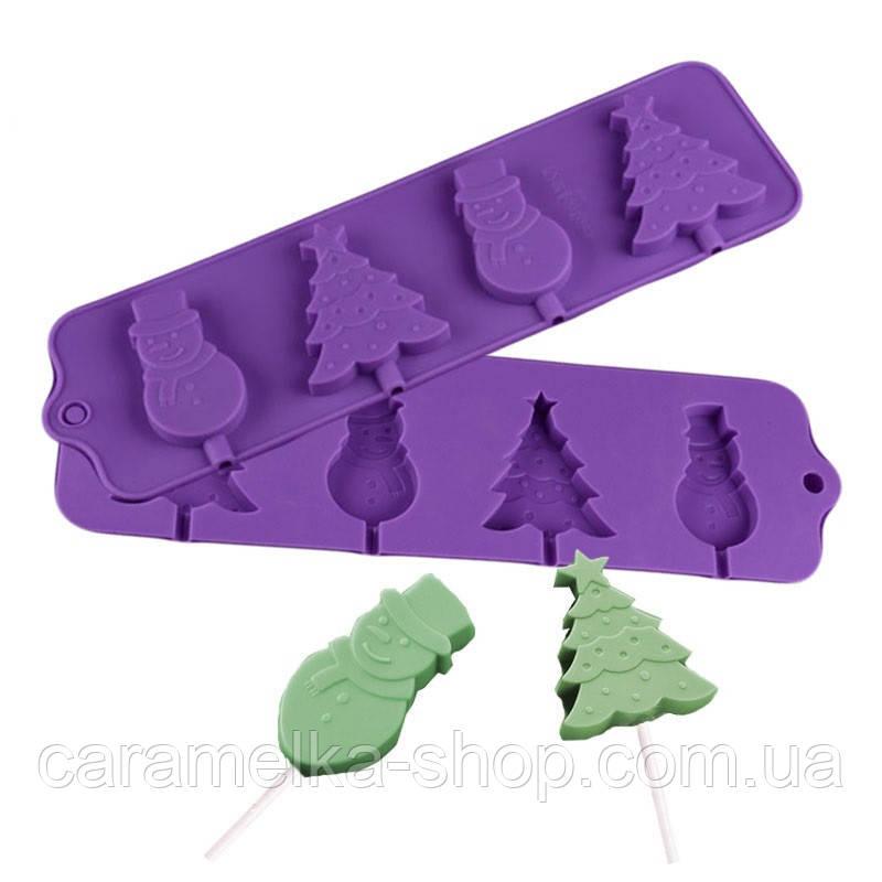 Силіконова форма для цукерок новорічна, молд силіконовий для цукерок