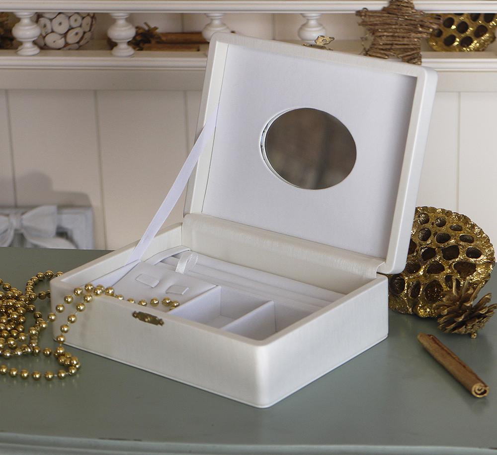 Шкатулка для хранения ювелирных украшений 18*13*5,8 Гранд Презент 603432 молочная
