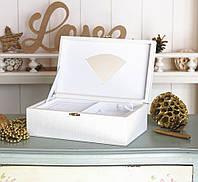 Шкатулка для ювелирных украшений 22*13,6*7,5 Гранд Презент 603426 молочная
