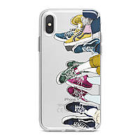 Чехол силиконовый для Apple iPhone (Разноцветные кроссовки) 5s/SE2020/6+/6s+/7+/8+/Plus/11Pro/12mini5G про эпл айфон плюс X XS XsMax XR silicone case