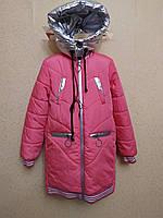 Куртка-бомпер удлинненая с наушниками для девочки 10-12 лет демисезонная