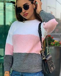 """Объёмный свитер """"Радуга"""", 42-48 белый+розовый+серый"""