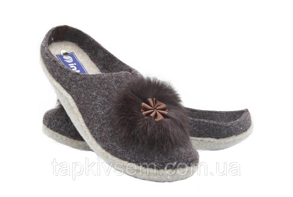 Тапочки женские Inblu коричневые фетровые
