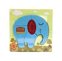 """Деревянная рамка с вкладышами-пазлами """"Слон"""", 5 деталей С36033 sco"""