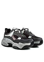 Женские кроссовки серые на толстой подошве с вставками из натуральной замши Lifexpert (осень, весна)