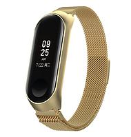 Металлический браслет золотой с магнитной застёжкой для фитнес трекера Xiaomi mi band 4 / 3, фото 1