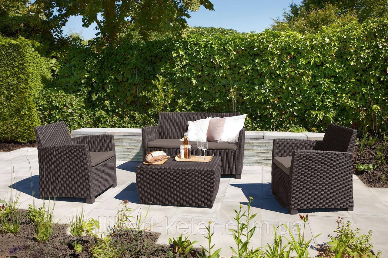 Набор садовой мебели Corona Set With Cushion Box Brown ( коричневый ) из искусственного ротанга