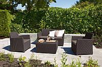 Набор садовой мебели Corona Set With Cushion Box Brown ( коричневый ) из искусственного ротанга, фото 1