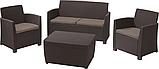 Набор садовой мебели Corona Set With Cushion Box Brown ( коричневый ) из искусственного ротанга, фото 2