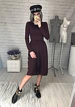 Женское платье трикотаж с юбкой солнце расклешенной длинный рукав размеры 40 42 44 46, фото 3