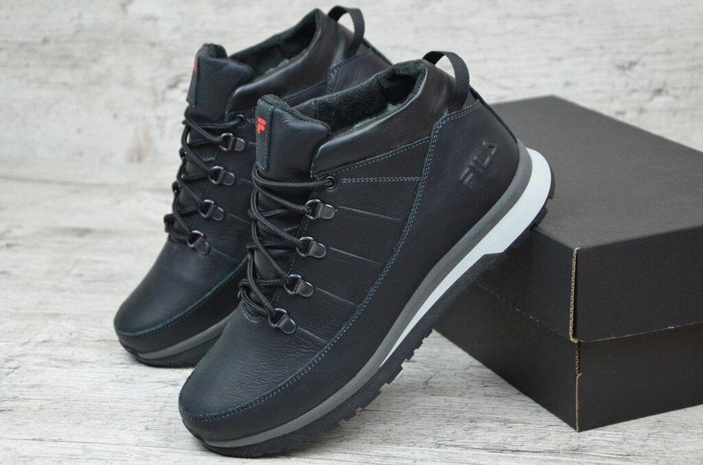 Мужские теплые, качественные , кожаные ботинки Fila