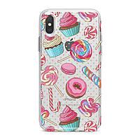 Чехол силиконовый для Apple iPhone (Разноцветные сладости) 5/5s/SE 6/6s 6+/6s+ 7/7 plus 8/8+ 11 Pro про эпл айфон плюс X XS XsMax XR silicone case