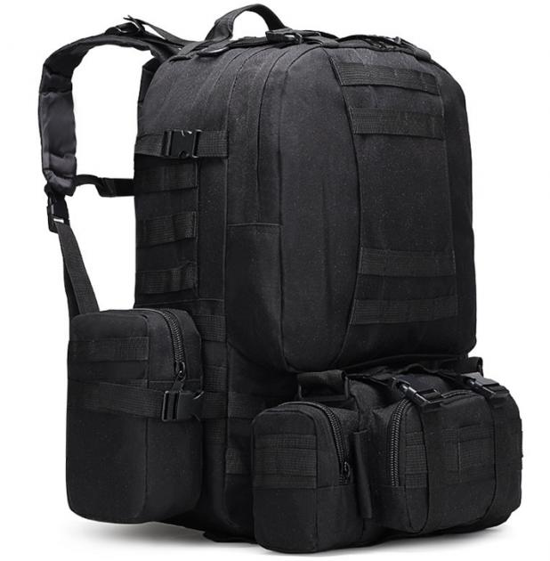 Рюкзак тактический черный + сумка+ 2 подсумка