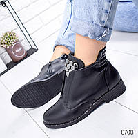 Ботинки женские Tron черный кожа 8708