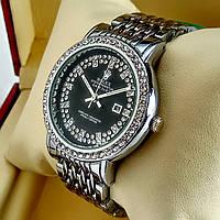 Женские кварцевые наручные часы Rolex A172 серебряного цвета с черным циферблатом с датой на металл браслете