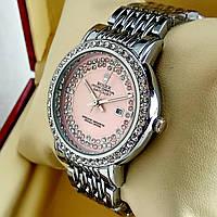 Женские кварцевые наручные часы Rolex A172 серебряного цвета с розовым циферблатом с датой на металл браслете