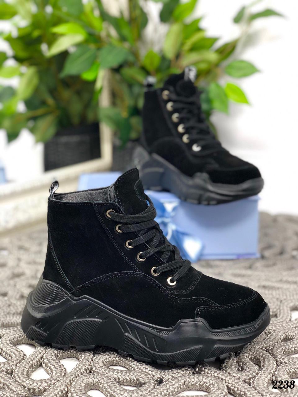 24 см Ботинки женские зимние черные замшевые на платформе, из натуральной замши, натуральная замша