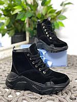 24 см Ботинки женские зимние черные замшевые на платформе, из натуральной замши, натуральная замша, фото 1