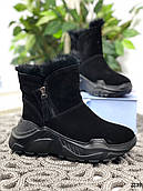 23 см Ботинки женские зимние черные замшевые на платформе, из натуральной замши, натуральная замша