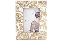 Рамка для фото Цветение, 22см, цвет - сливочно-белый с золотой патиной, полистоун (450-158)
