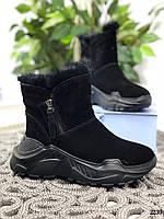 23,5 см Ботинки женские зимние черные замшевые на платформе, из натуральной замши, натуральная замша