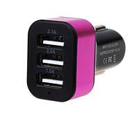 Зарядка USB в прикуриватель на 3 выхода, автомобильная зарядка usb (розовая) 3 в 1 USB