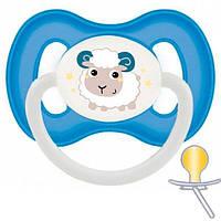 Пустышка Bunny & Company латексная круглая, 6-18 мес, синяя, Canpol babies (23/278_blu), Разноцветный