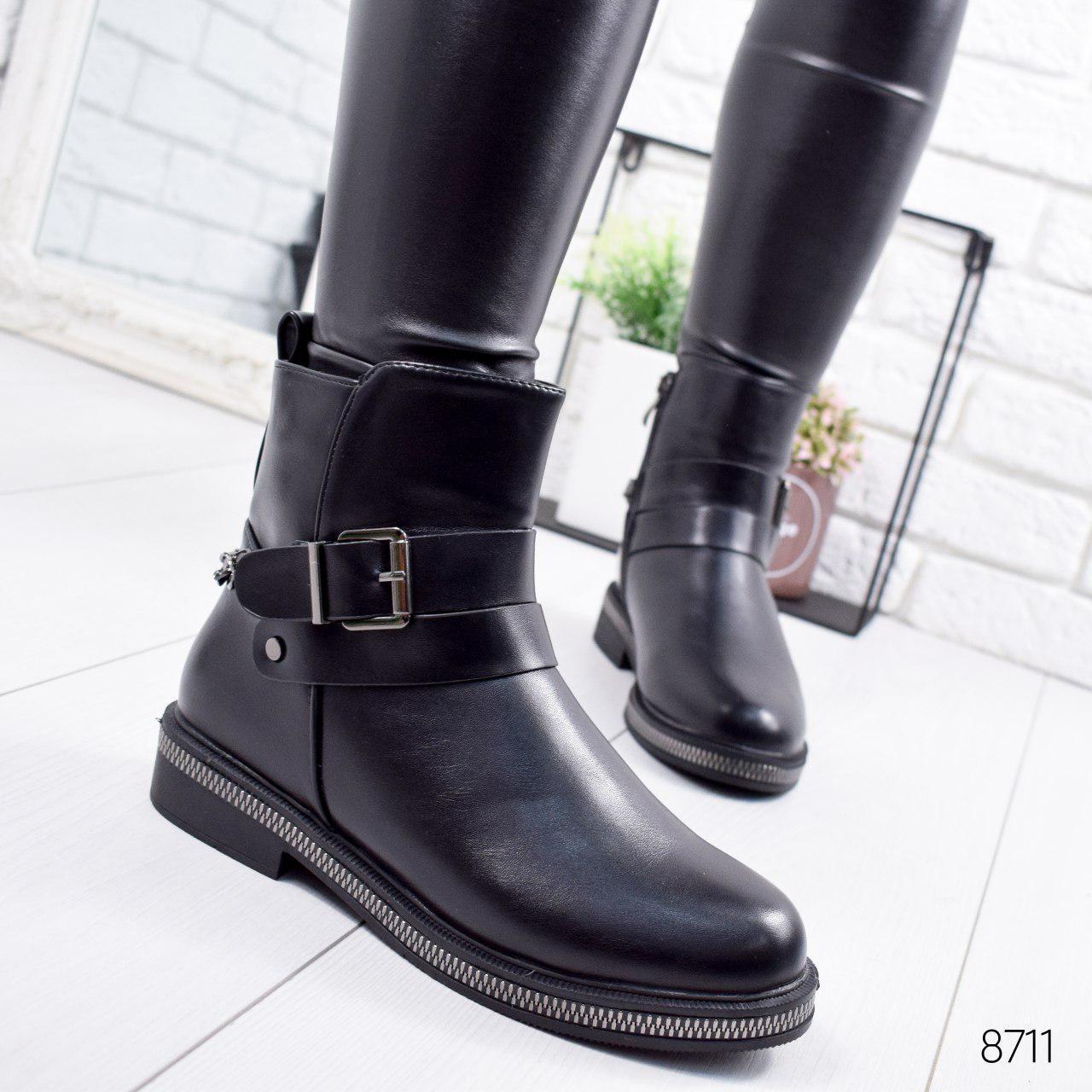 """Ботинки женские зимние """"Euwey"""" черного цвета из эко кожи. Ботильоны женские. Ботильоны зима"""