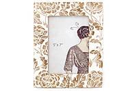 Рамка для фото Цветение, 25см, цвет - сливочно-белый с золотой патиной, полистоун (450-159)