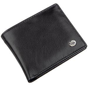 Мужское портмоне с зажимом и монетницей ST Leather 18853 Черный, Черный