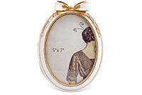 Рамка для фото овальная Бант, 21см, цвет - сливочно-белый с золотой патиной, полистоун (450-181)