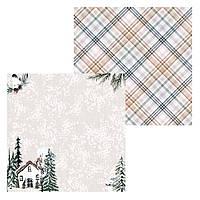 1 Лист двусторонней бумаги для скрапбукинга, коллекция По снегу 30х30 см.
