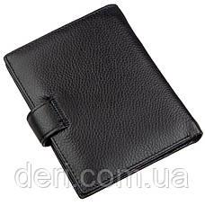 Кожаное мужское портмоне на кнопке Boston Черный, Черный, фото 2