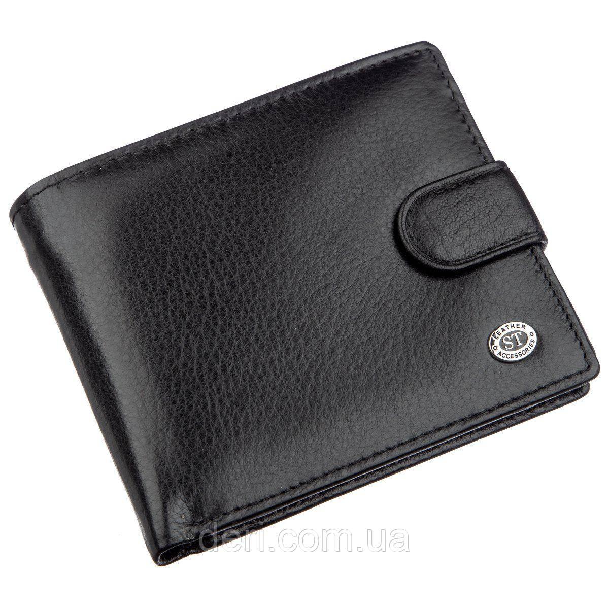 Превосходный мужской бумажник ST Leather Черный, Черный