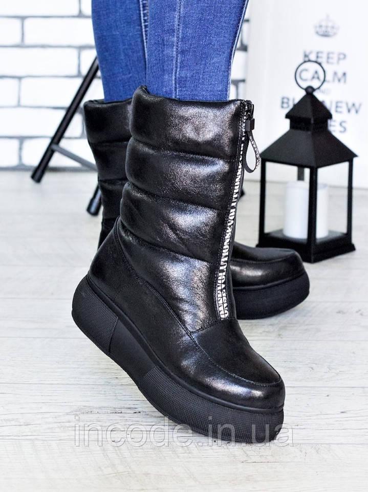 Зимові черевики - дутики шкіра 7192-28