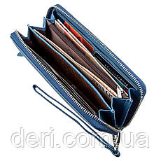 Вместительный женский клатч-кошелек голубой, фото 3
