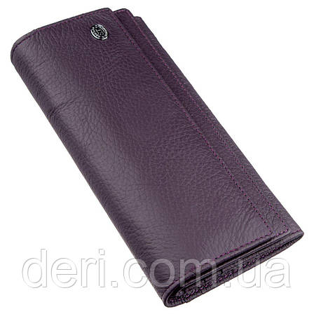 Женский кошелек с визитницей на кнопке фиолетовый, фото 2