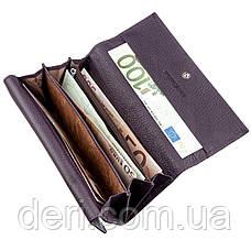 Женский кошелек с визитницей на кнопке фиолетовый, фото 3