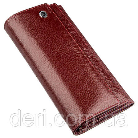 Женский кошелек с монетницей на молнии темно-красный, фото 2